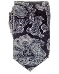 Black.co.uk - Liscia Navy And Grey Floral Italian Cotton Tie - Lyst