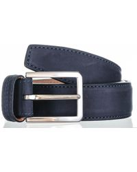 Black.co.uk - Navy Italian Nubuck Leather Belt - Lyst