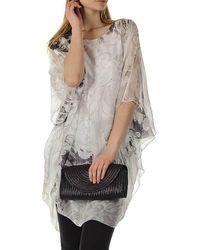 Black Viola - White Printed Silk Kaftan Dress