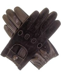 Black Men's Suede And Leather Driving Gloves - Multicolour