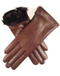 Black.co.uk Ladies Brown Rabbit Fur Lined Leather Gloves