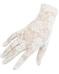 Black.co.uk Short Ivory Fine Lace Gloves - Multicolour