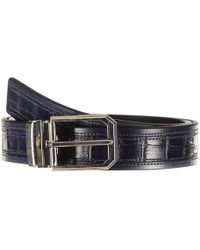 Black.co.uk - Navy Italian Textured Calf Leather Belt - Lyst