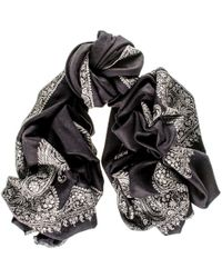 Black.co.uk - Hand Embroidered Paisley Cashmere Ring Shawl - Lyst