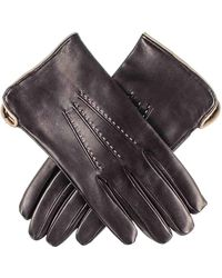 Black Men's And Taupe Leather Gloves - Cashmere Lined - Black