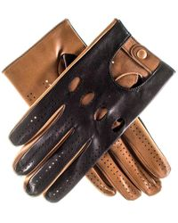 Black And Tan Leather Driving Gloves - Blue
