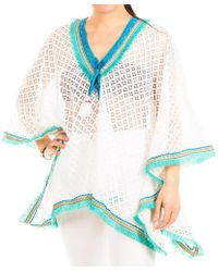 Black.co.uk - Turquoise And White Cotton Kaftan Top - Lyst