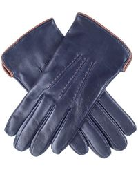 Black.co.uk - Navy And Tan Leather Gloves - Cashmere Lined - Lyst