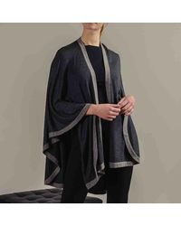 Black.co.uk Charcoal Grey And Taupe Wool Cape - Gray