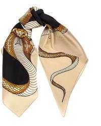 Black.co.uk Cream And Black Snake Print Silk Scarf - Multicolour