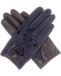 Black.co.uk Men's Navy Suede And Leather Driving Gloves - Blue