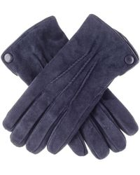 Black.co.uk Navy Blue Suede Gloves With Cashmere Lining