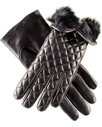 Black.co.uk Rabbit Fur Lined Italian Quilted Leather Gloves - Black