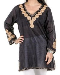 Black.co.uk - Black And Gold Embroidered Cotton Kaftan Top - Lyst