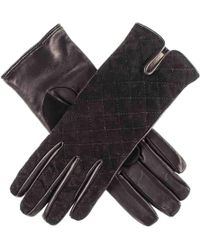 Black.co.uk - Black Quilted Suede And Leather Gloves - Cashmere Lined - Lyst