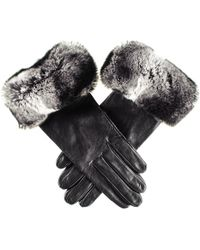 Black.co.uk - Ladies Black Leather Gloves With Chinchilla Style Rabbit Fur Cuff - Lyst