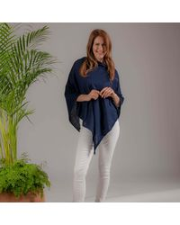 Black Navy Cotton And Cashmere Poncho - Blue
