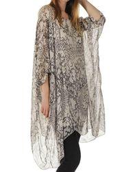 Black Melissa - Beige Print Silk Kaftan Dress - Natural