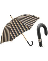 Black.co.uk Black And Sand Striped Luxury Umbrella - Multicolour
