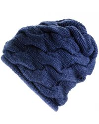 Black.co.uk Chunky Cable Knit Navy Cashmere Beanie - Blue