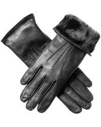 Black Ladies' Rabbit Lined Leather Gloves - Black