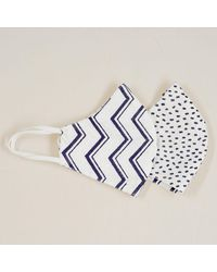 Black Polka Dot And Zig Zag Reversible Organic Cotton Face Mask - Blue