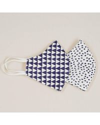 Black Dots And Geometric Reversible Organic Cotton Face Mask - Blue