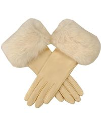 Black Cream Leather Gloves With Rabbit Fur Cuff - Natural