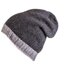 Black.co.uk - Two-tone Grey Cashmere Slouch Beanie - Lyst