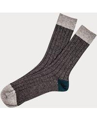Black Light Grey, Charcoal And Teal Cashmere Socks