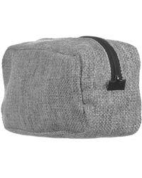 Black Men's Grey Tweed Wash Bag