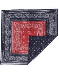 Black.co.uk - Navy And Red Reversible Silk And Cotton Pocket Square - Lyst