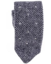 Black.co.uk - Grey Polka Dot Knitted Cashmere Tie - Lyst