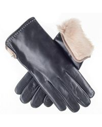Black.co.uk Black And Cappuccino Rabbit Lined Leather Gloves