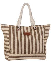 Black.co.uk - Varadero Brown Striped Hessian Beach Bag - Lyst
