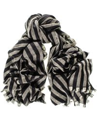 Black.co.uk Black And Grey Striped Cashmere Ring Shawl