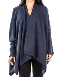 Black.co.uk - Midnight Navy Cashmere Sleeved Cape - Lyst