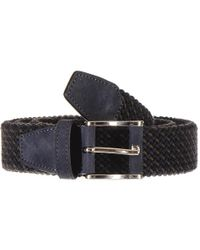 Black.co.uk - Military Green And Navy Nubuck Trimmed Woven Belt - Lyst