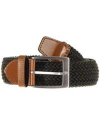 Military Green And Tan Leather Trimmed Woven Belt - Multicolour