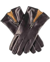 Black And Tobacco Cashmere Lined Leather Gloves With Zip Detail - Black