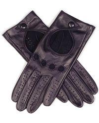 Black Ladies' Black Leather Driving Gloves