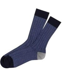 Black Navy, Air Force Blue And Grey Cashmere Socks