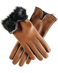 Black Tan And Rabbit Fur Lined Leather Gloves - Brown