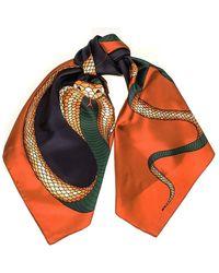 Black.co.uk Copper And Black Snake Print Silk Scarf - Multicolour