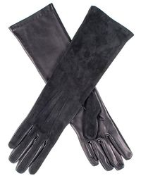Black.co.uk - Long Black Suede And Leather Gloves - Lyst