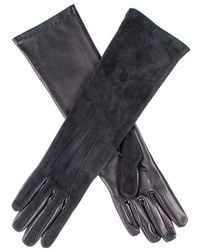 Black.co.uk Long Black Suede And Leather Gloves - Multicolour