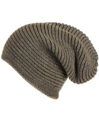 216735616 Olive Green Cashmere Slouch Beanie Hat