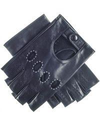 Black Men's Leather Fingerless Driving Gloves - Black