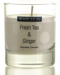 Black Fresh Tea And Ginger Scented Candle - Clear Glass - Multicolour
