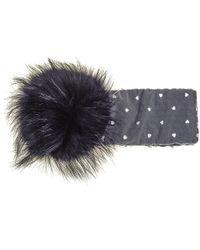 Black.co.uk - Grey Fur Pom Pom Headband - Lyst
